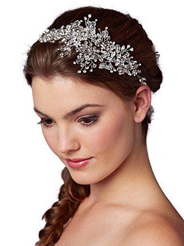 Mariell Couture Crystal Spray Bridal Headpiece Hair Vine