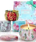 Scentorini Scented Candles Gift Set,Blush Peony, Cinnamon Apple