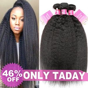Mei You 8A Kinky Straight Hair 3 Bundles Yaki Human Hair Weave