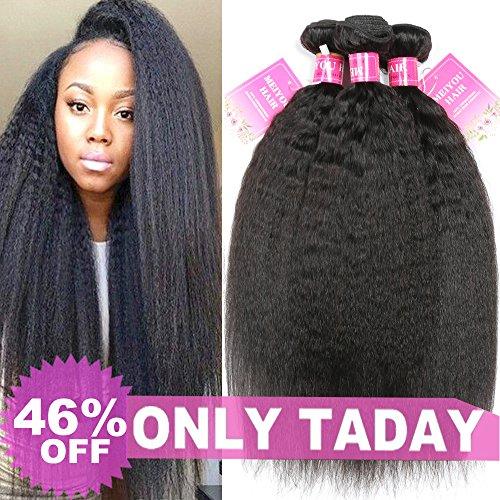 Mei You 8A Kinky Straight Hair 3 Bundles Yaki Human Hair Weave