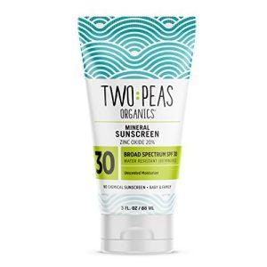 Two Peas Organics SPF 30 Mineral Sunscreen for Women, Men, Kids & Baby
