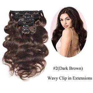 "Urbeauty 16"" Wavy Clip in Hair Extensions Dark Brown"
