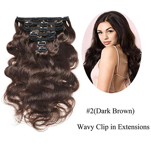 "Urbeauty 16"" Wavy Clip in Hair Extensions Dark Brown"