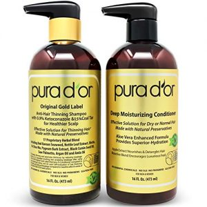 PURA D'OR Anti-Thinning Shampoo w/Biotin, Coal-Tar