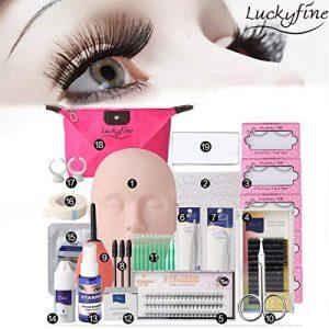 LuckyFine Pro 19pcs False Eyelashes Extension Practice Exercise Set