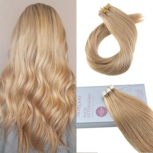 Moresoo Seamless Tape in Human Hair Extensions 22 Inch Color
