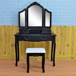 Azadx Makeup Table Set,Tri-Folding Mirror Vanity Table Set