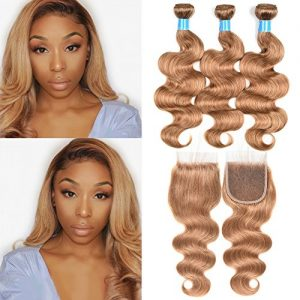 JulyQueen Brazilian Human Virgin Hair Honey Blonde Color Body Wave