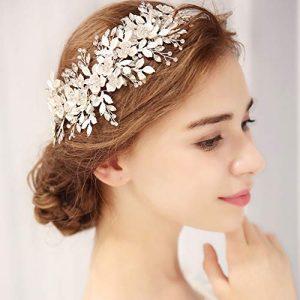 mecresh Handmade Bridal Floral Headpiece Marquise Crystal Wedding