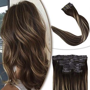 Full Shine Glue Clip Human Hair 14 Inch #4 Medium Brown Ombre