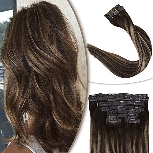 Full Shine Glue Clip Human Hair 14 Inch #4 Medium Brown Ombre