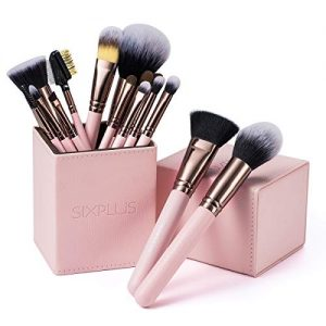 SIXPLUS 15Pcs Pink Makeup Brush Set with Makeup Holder