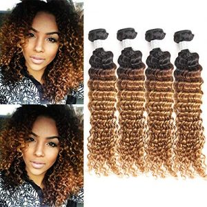 IMAYLI Brazilian Ombre Deep Wave Virgin Hair Weave 4 Bundles Wet
