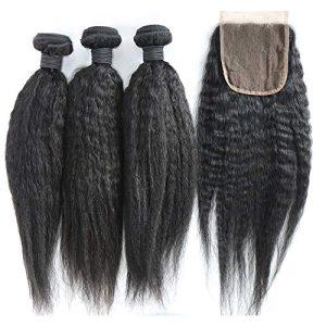 XiaoYuan Brazilian Yaki Straight Hair 3 Bundles with three part closure