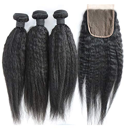 XiaoYuan Brazilian Yaki Straight Hair 3 Bundles with three part closure