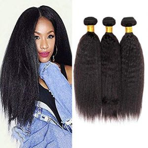8A Yaki Hair Kinky Straight Brazilian Hair 3 Bundles 100% Unprocessed Virgin Sew