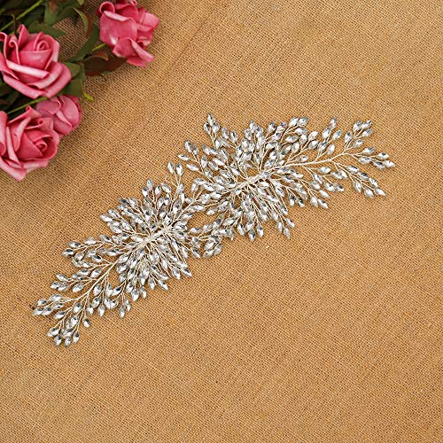 mecresh Bridal Hair Comb Crystal Floral Handmade DIY Bendable Headpiece