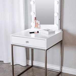 Glamstation Makeup Vanity And Lighted Mirror Set, 10 Dimmable LED Lights