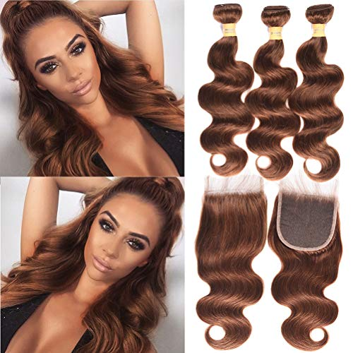 WOME Brazilian Hair Body Wave Bundles with 4x4 Lace Frontal Closure Pure Color