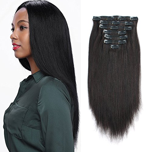 ABH AmazingBeauty Hair Real Remy Thick Yaki Hair Clip In Hair Extensions