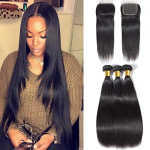 Brazilian Straight Virgin Hair 3 Bundles With Closure Free Part