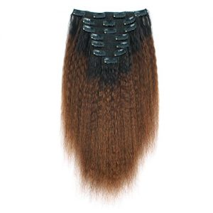 AmazingBeauty 8A Double Weft Texlaxed Kinkys Straight Ombre Clip