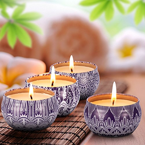 Scented Candles Blue & White Gift Set - 4 Pack Fragrance Soy Wax Candle