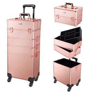 AW 4 in 1 Portable Rolling Makeup Train Case Trolley Cosmetic Box Organizer
