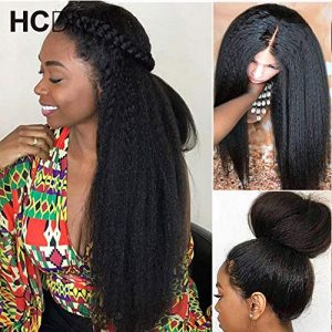 HCDIVA Kinky Straight 360 Lace Frontal Human Hair Wigs Pre Plucked
