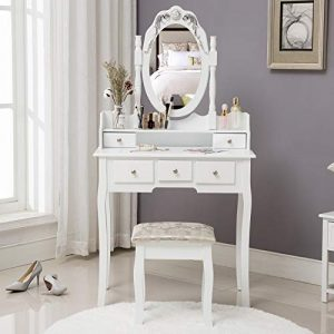 HONBAY Makeup Vanity Table Set and Cushioned Stool