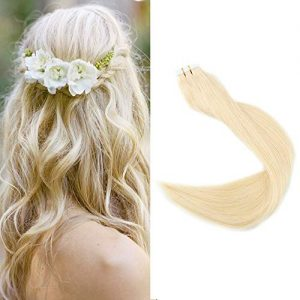 "Full Shine 18"" Color Blonde Remy Straight Human Hair Extensions"