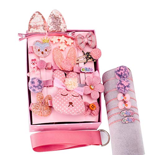 Tinffy 24pcs/Set Girls Princess Hair Clip Set- Fashion Sweet Headwear