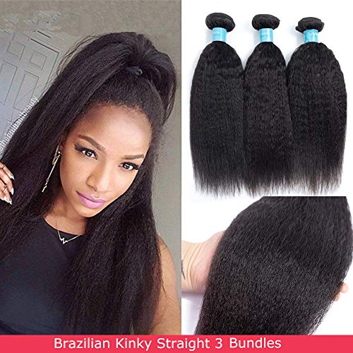 Norfila Brazilian Kinkys Straight 3 Bundles(14 16 18) Human Hair