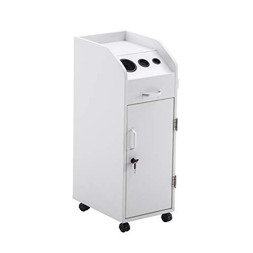 BarberPub Beauty Salon Trolley Storage Cart Hair Dryer Holder Stylist Equipment