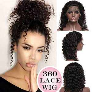 "360 Lace Wigs Deep Wave Brazilian Human Hair 10"" Curly"