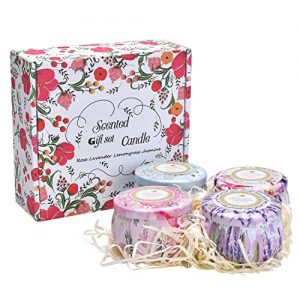 [4 Pack] Scented Candles Gift Set [Lavender, Rose, Lemongrass, Jasmine]