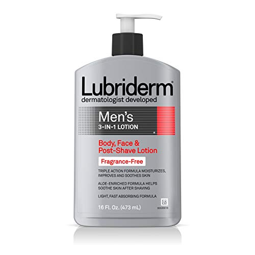 Lubriderm Men's 3-In-1 Unscented Lotion Enriched with Soothing Aloe for Body