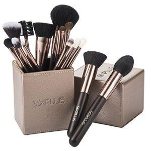 SIXPLUS 15Pcs Coffee Makeup Brush Set with Makeup Holder