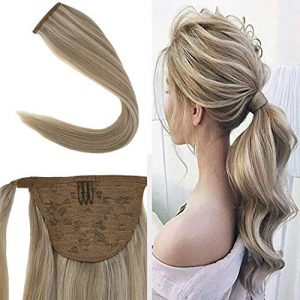 Youngsee 14inch Hair Extensions Ponytail Warp Around Dark Honey Blonde
