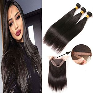 360 Lace Frontal With Bundles Straight Brazilian Hair Extensions