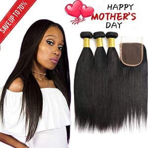 Brazilian Virgin Human Hair Straight 3 Bundles with Lace Closure Free Part