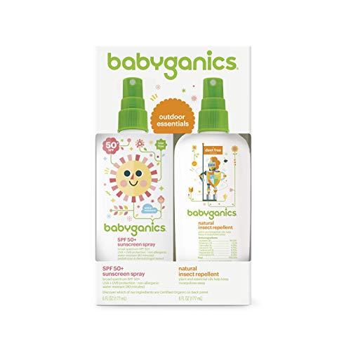 Babyganics Baby Sunscreen Spray SPF 50, 6oz Spray Bottle + Natural Bug Spray