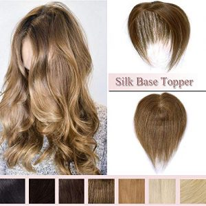 100% Real Human Hair Silk Base Top Hairpiece Clip in Hair Topper