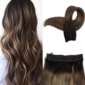Easyouth Wire Hair Extensions Human Hair 22 Inch Color 2 Dark Brown