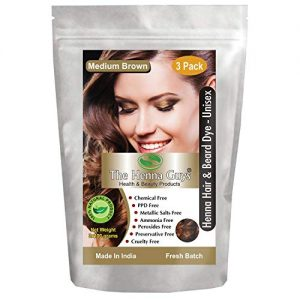 3 Packs of MEDIUM BROWN Henna Hair & Beard Dye/Color