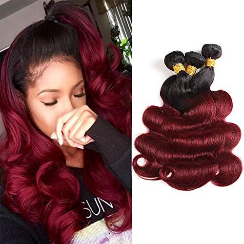 Baiermei Hair Ombre Wine Red Brazilian Virgin Hair Extensions Body Wave