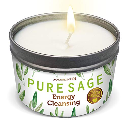 MAGNIFICENT Pure White Sage Smudge Candle for Home Energy Cleansing