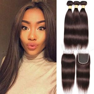 WOME 3 Pieces Peruvian Straight Hair Weave With 4x4 Lace Frontal Closure