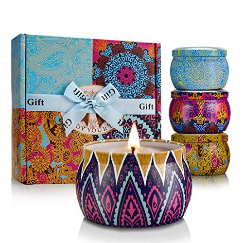 YINUO LIGHT Scented Candles Gift Set, 100% Soy Wax Portable Travel Tin Candles