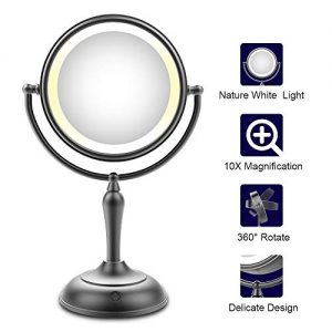 Lighted Makeup Mirror, 7.5 Inch Makeup Mirror with Magnification